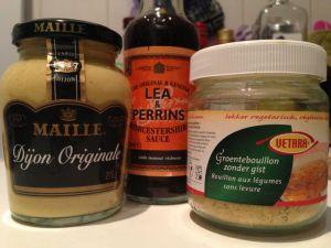 Mosterd, worcestershire sauce, gistvrije groentebouillon