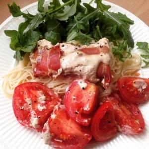 Kabeljauw tomaat rucola pasta